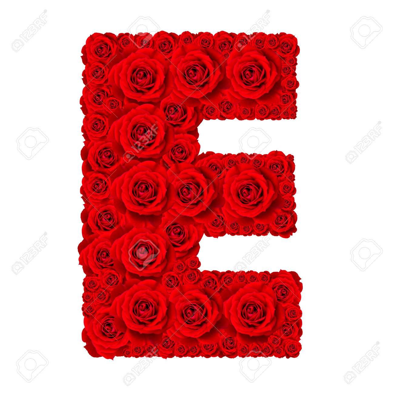 Rose alphabet set alphabet capital letter e made from red rose rose alphabet set alphabet capital letter e made from red rose blossoms isolated on white thecheapjerseys Choice Image