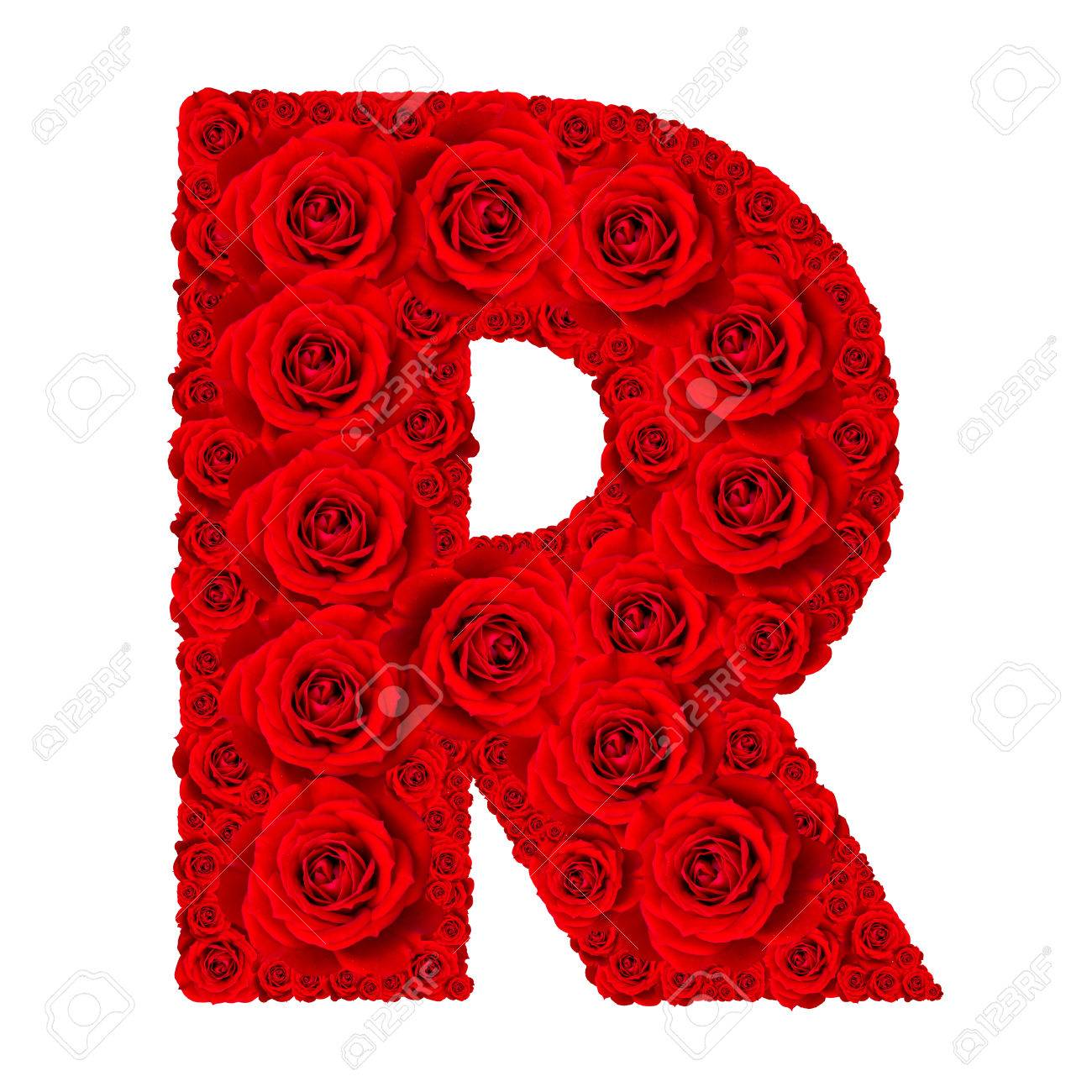 Rose alphabet set alphabet capital letter r made from red rose rose alphabet set alphabet capital letter r made from red rose blossoms isolated on white thecheapjerseys Image collections