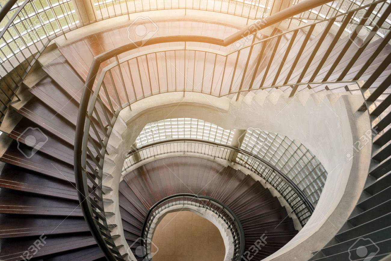 Spiral Wooden Staircase. Circular Staircase. Decoration Interior Stock  Photo   71956728