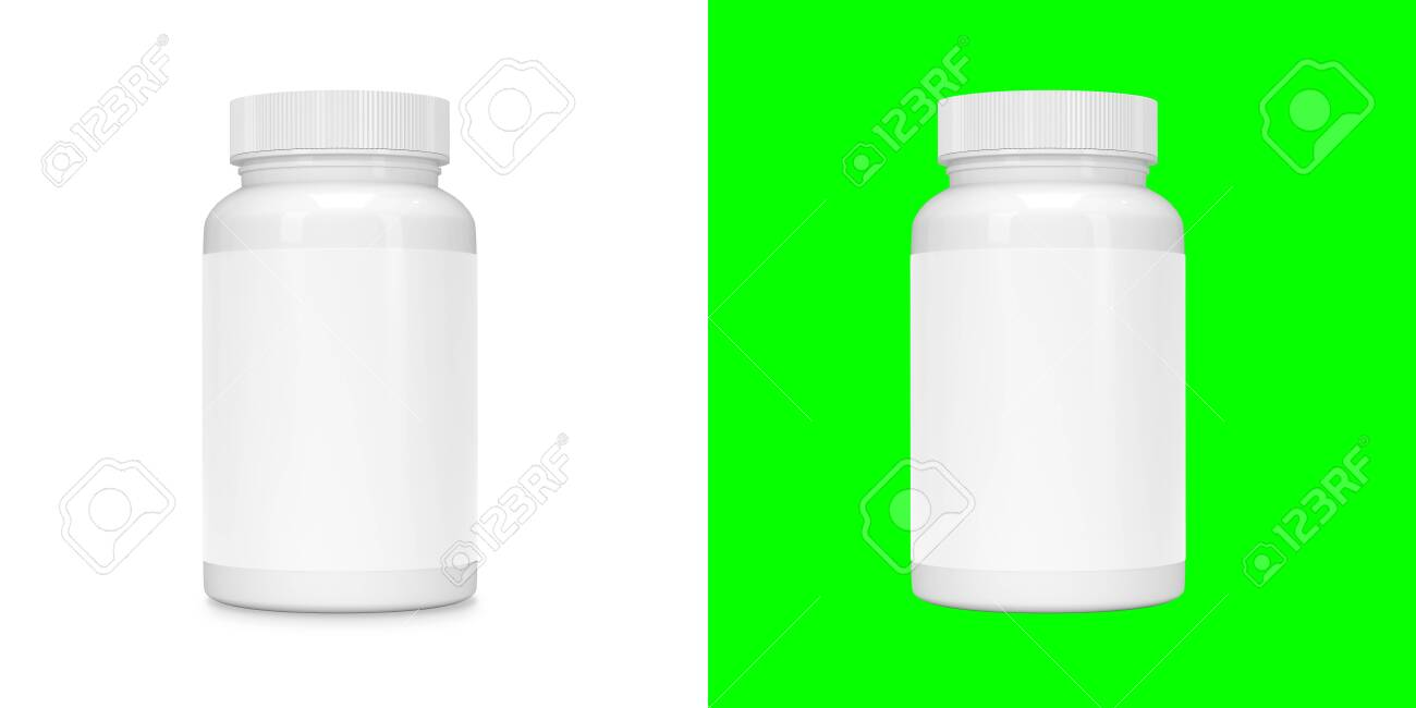 Food supplement package bottle for capsules isolated on white. Mask layer inluded. - 143014731