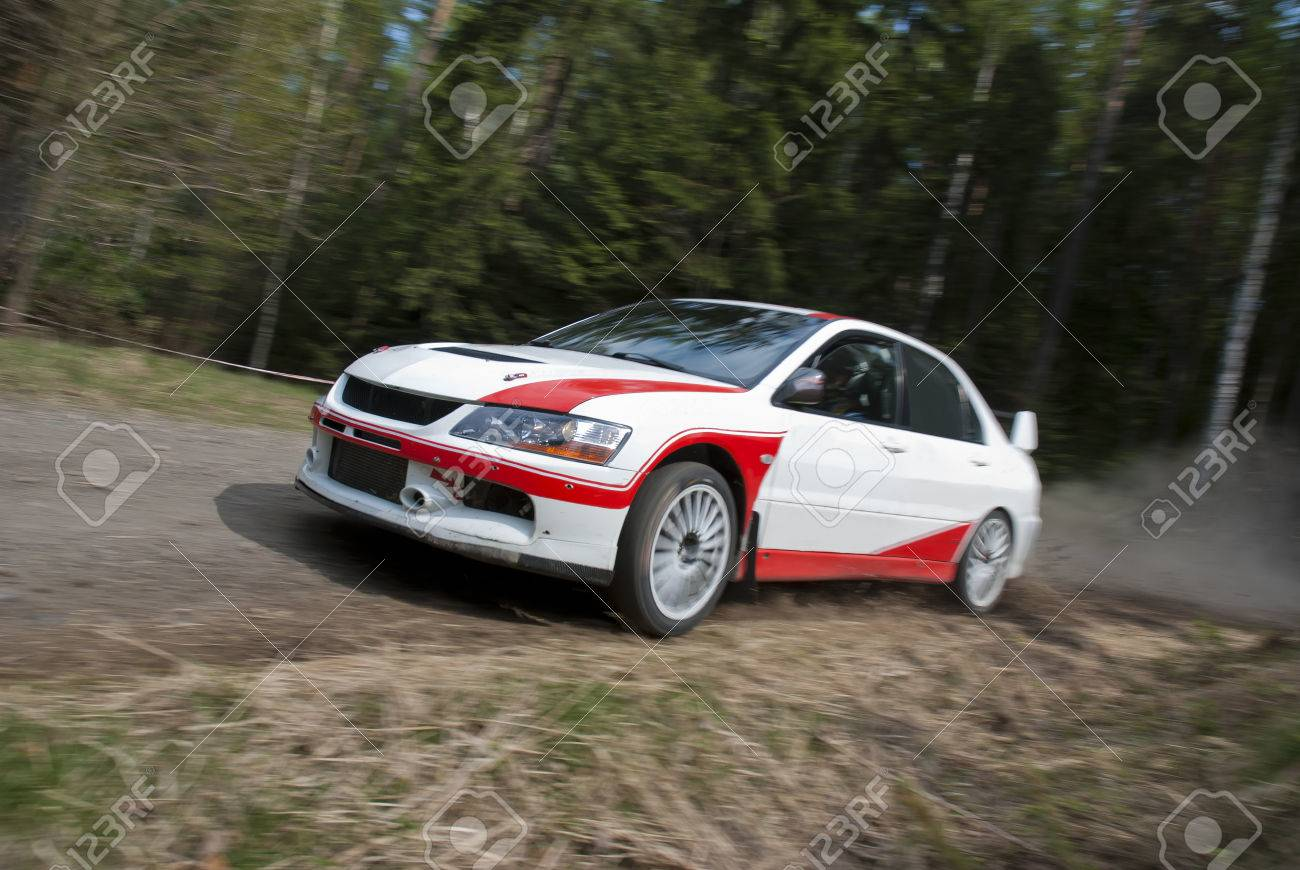 Rally Car In Action Mitsubishi Evo Stock Photo Picture And