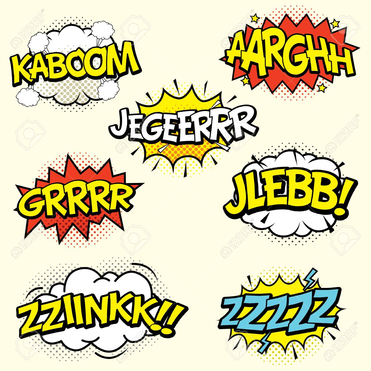 comic sound effects set isolated in cartoon vector style sound