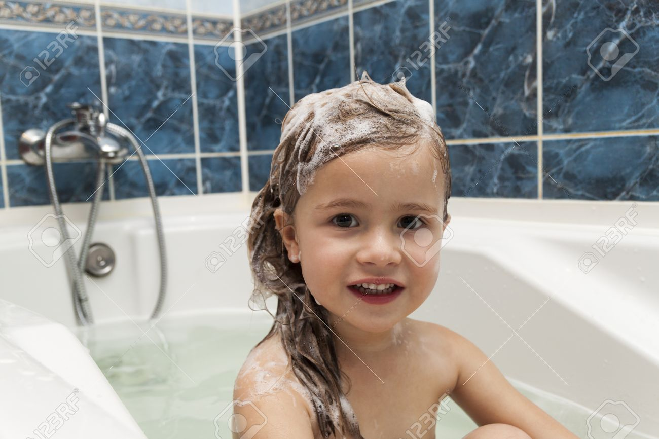 cute little girl washes her hair clean kid after shower children rh 123rf com