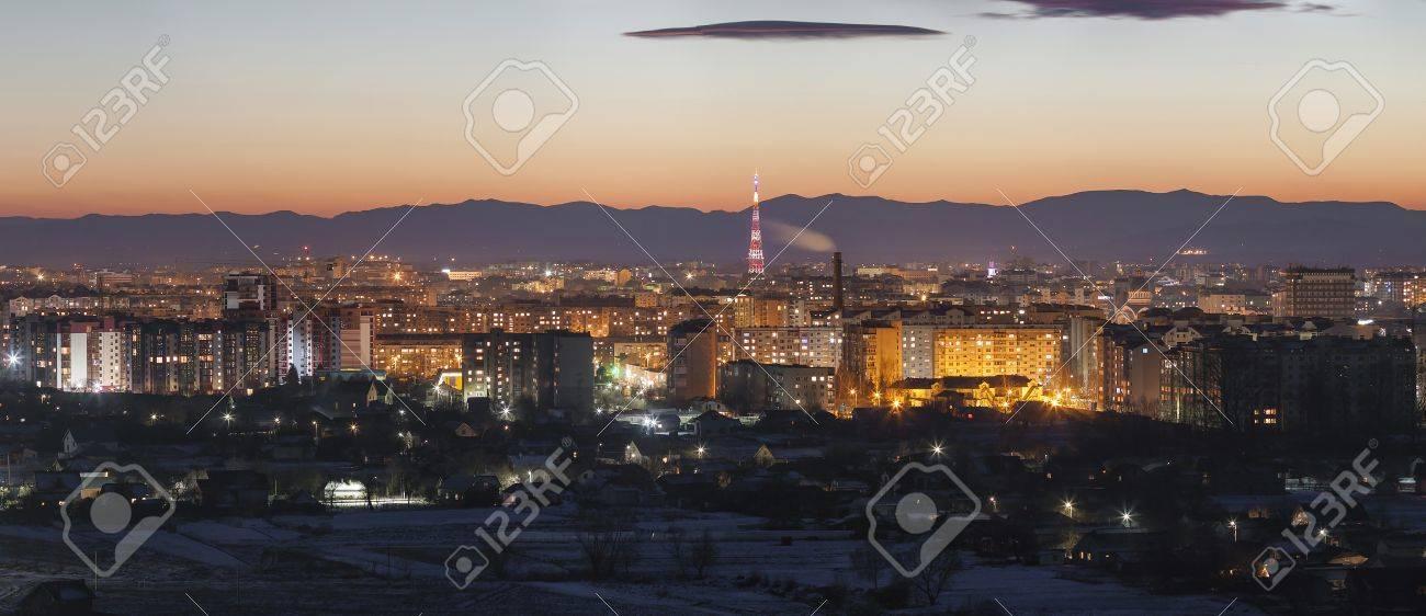 Panorama night aerial view of Ivano-Frankivsk city, Ukraine