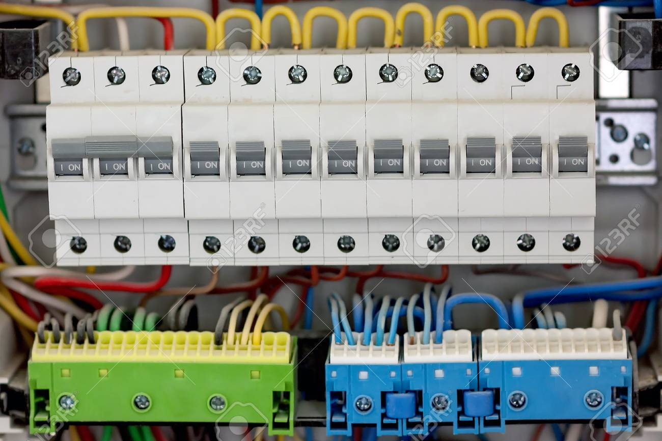 Fusebox. Electical distribution fuseboard. Electrical supplies. Electrical  panel at a assembly line factory. Controls