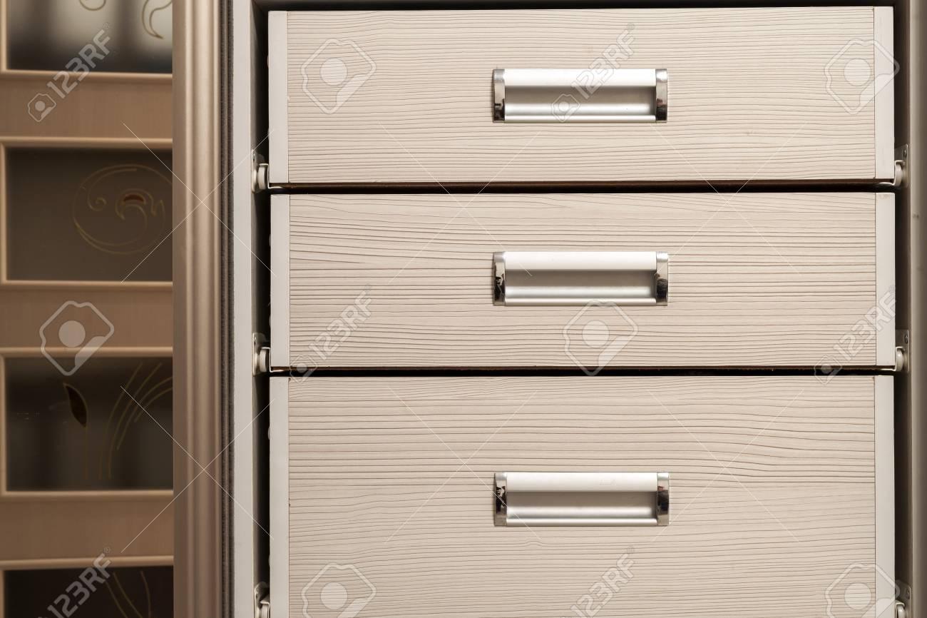 Detail Der Holzmobel Schrank Kommode Mit Schubladen Vorne