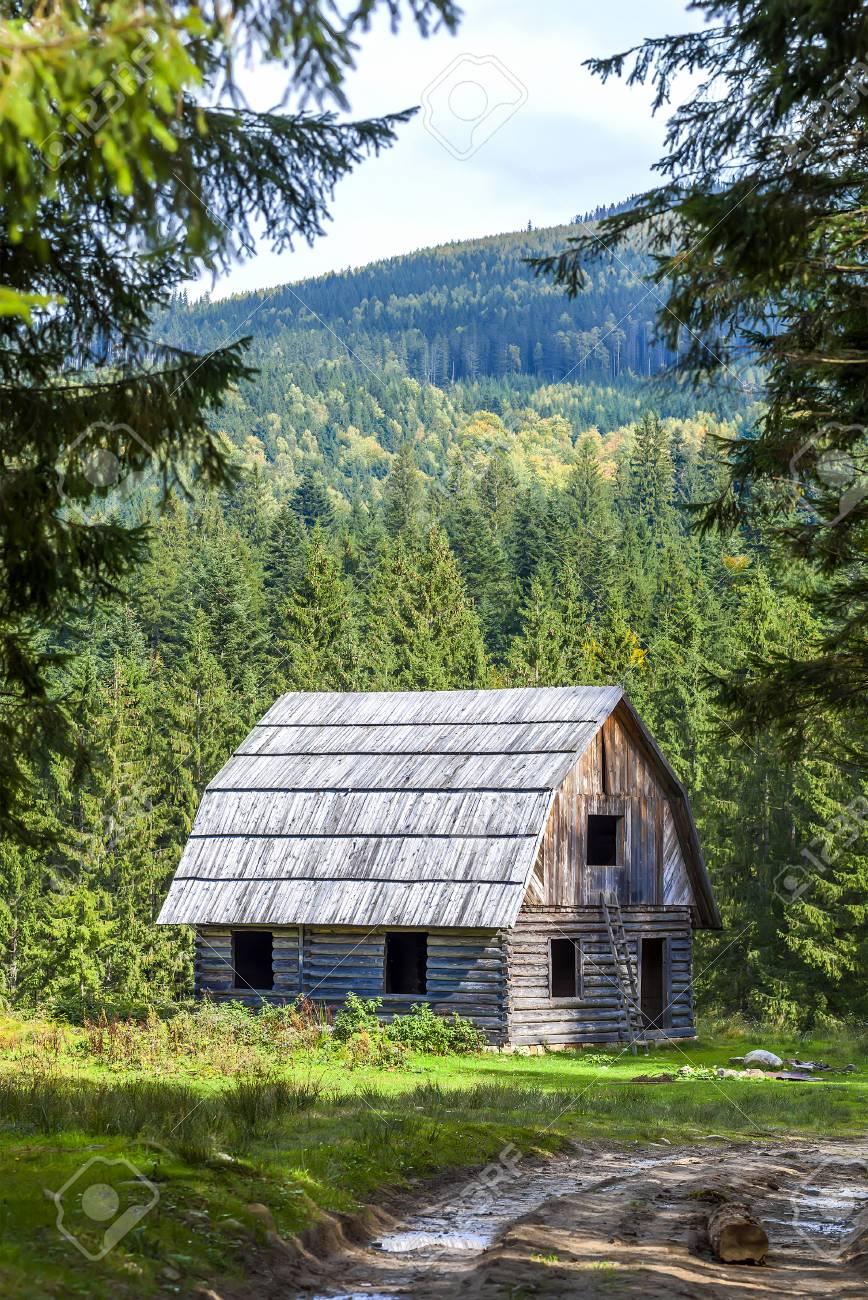 Pequeña Casa De Madera En El Bosque De Montaña Fotos, Retratos ...