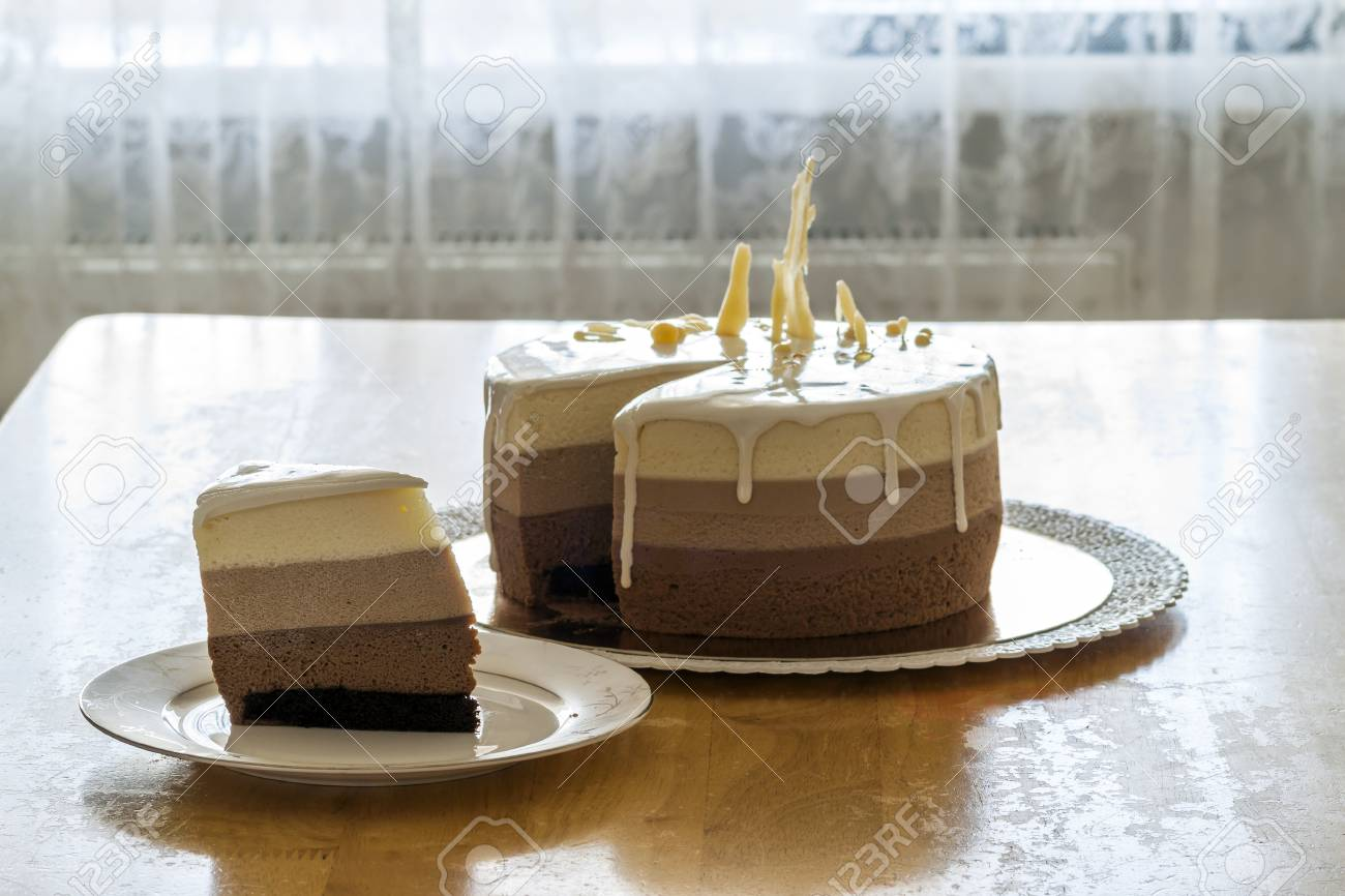 Delicious Homemade Chocolate Marble Birthday Cake Decorated With