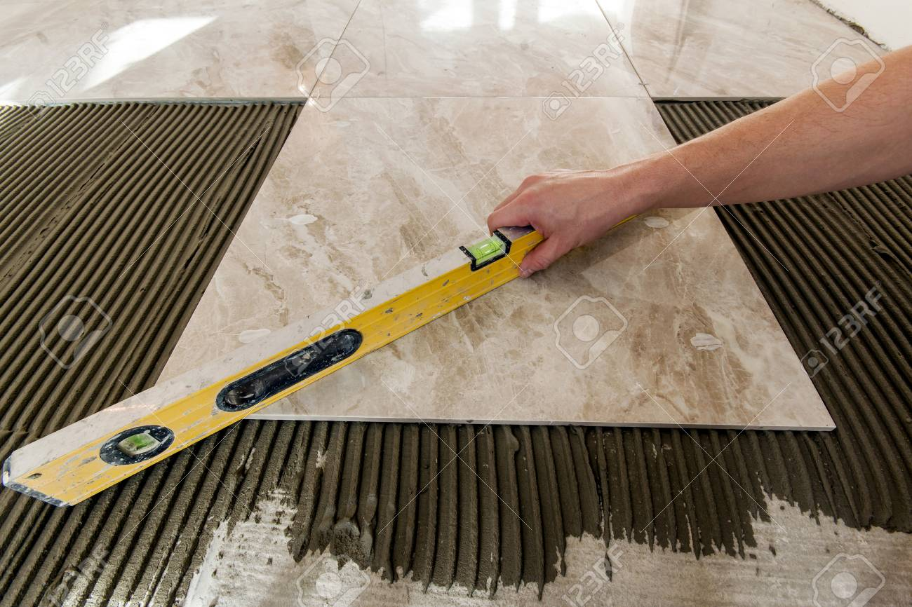Ceramic Tiles And Tools For Tiler Floor Tiles Installation