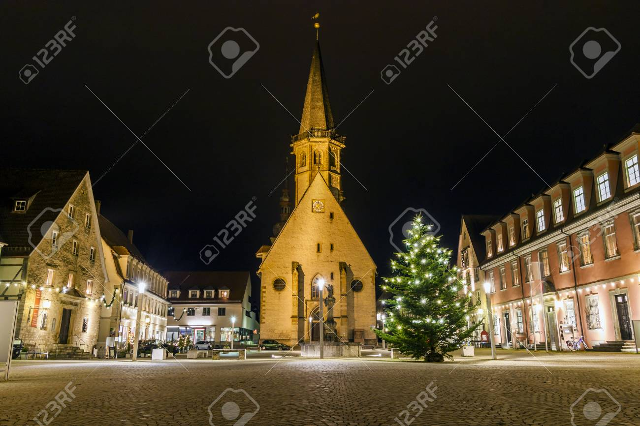 Christmas Town In Germany.The Center Of Town Weikersheim Germany Europe At Night In