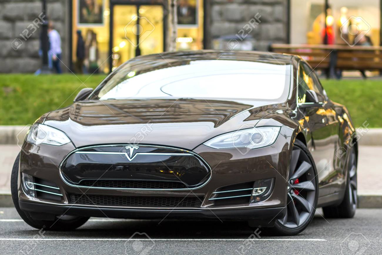 Kiev, Ukraine - September 20, 2017: Modern electric car on the street. Tesla Type S is one of the most expensive electric cars in the world. - 89075305
