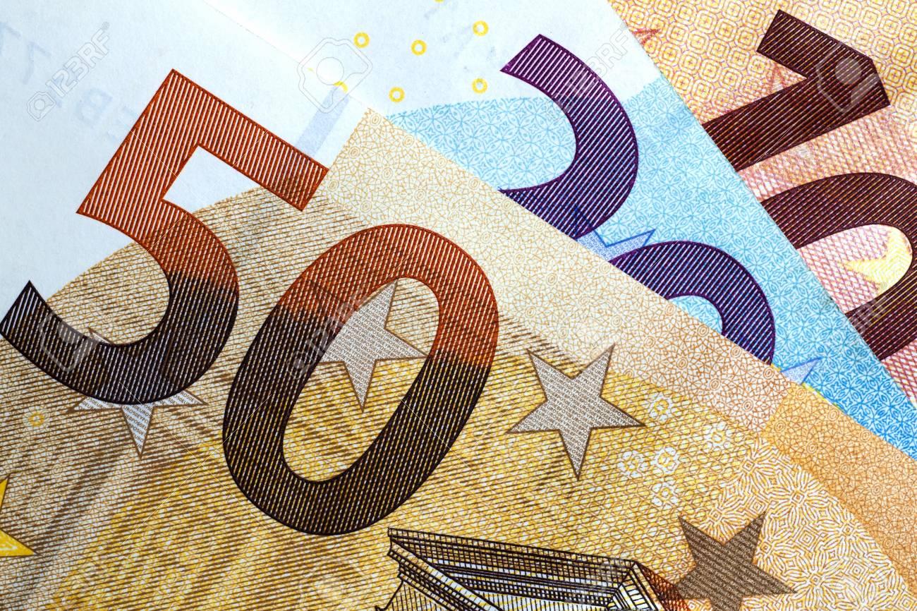 Close up of colorful euro money. Euro money background. - 90216976
