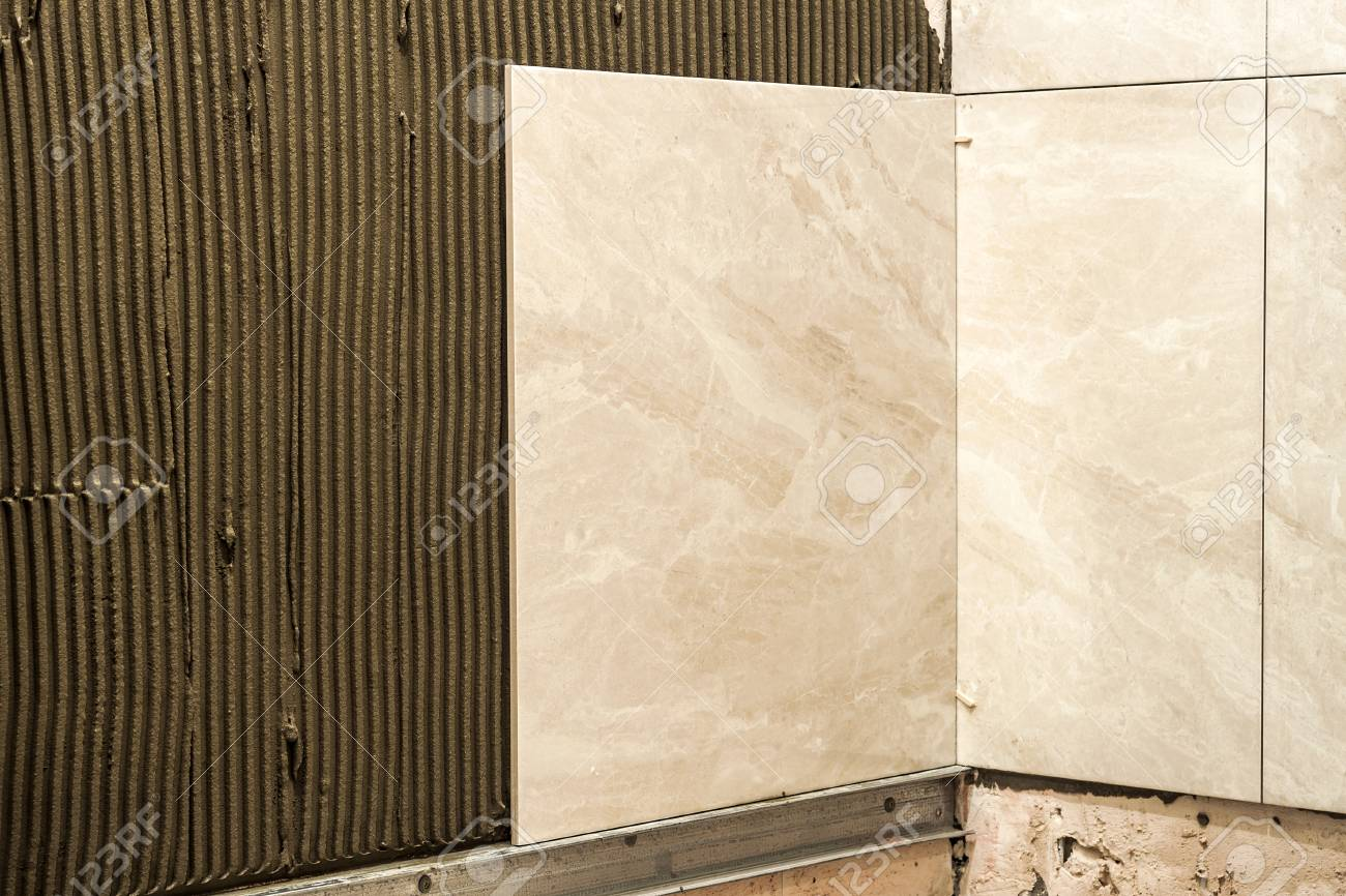 Ceramic Tiles On A Wall Installation Home Improvement And