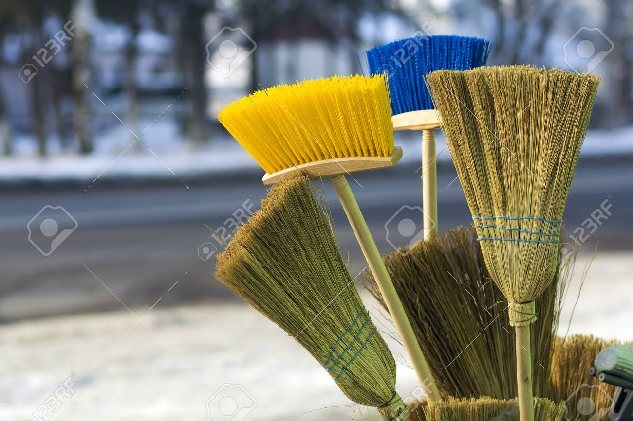 Many different brooms and floor brushes for sale Stock Photo - 94299119 dee175ea36d7