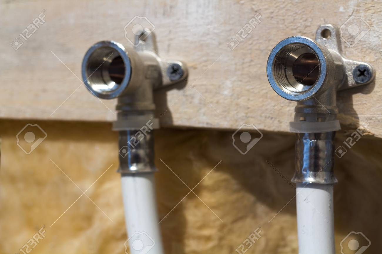 Water pipes made of polypropylene in the wall, plumbing in the