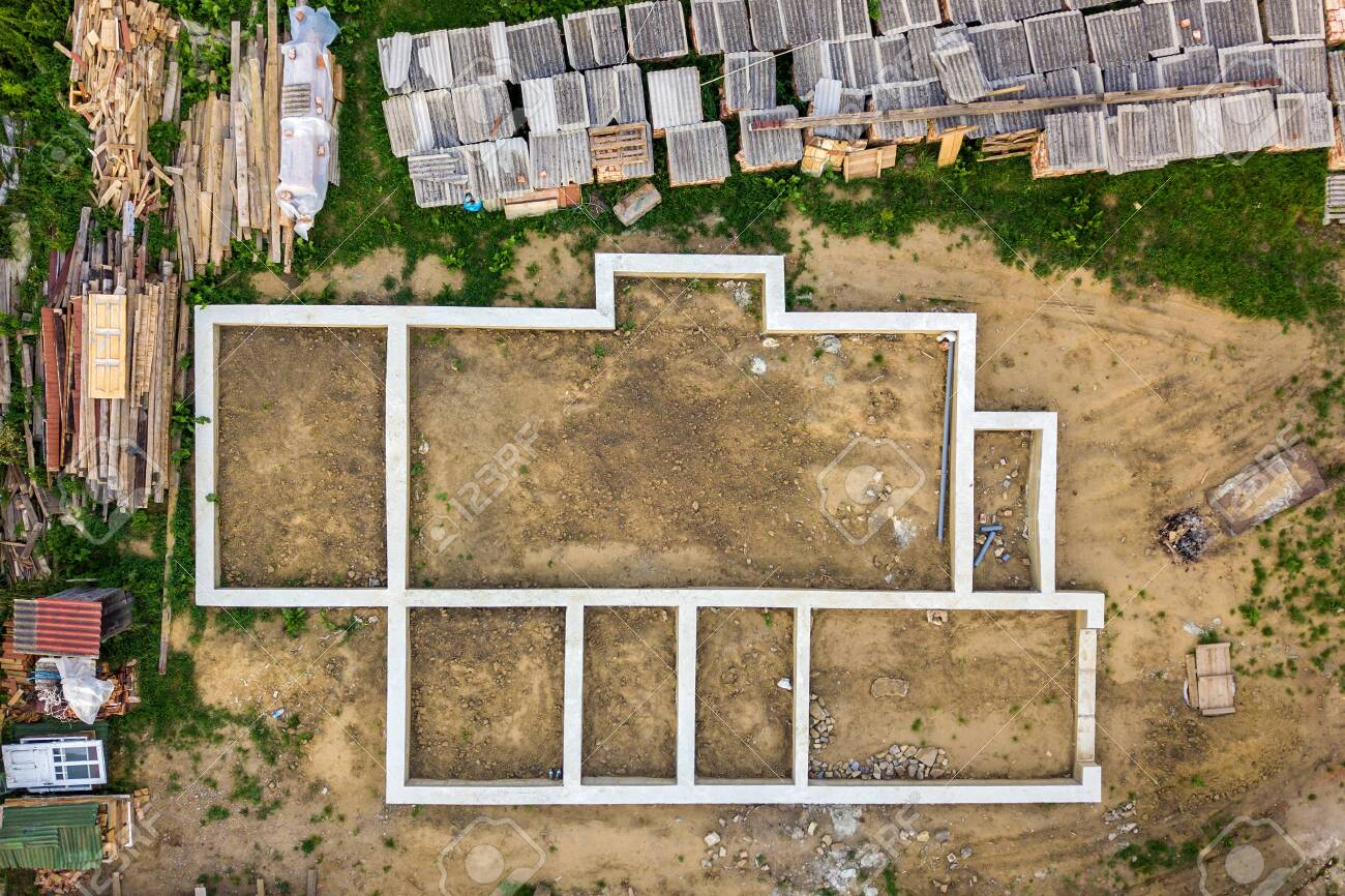 Aerial View Of Building Site For Future Brick House Concrete Stock Photo Picture And Royalty Free Image Image 140761652