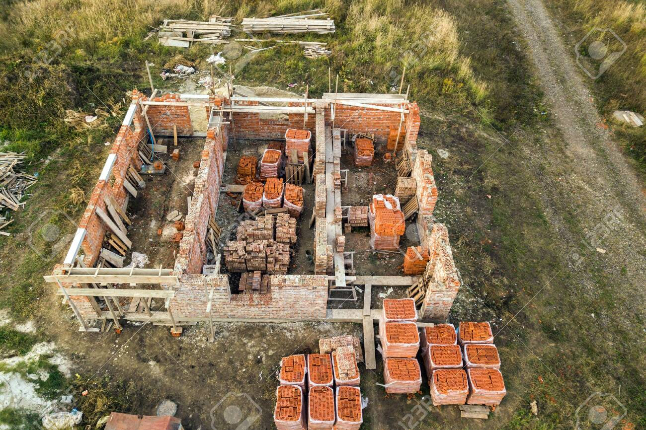 Aerial View Of Building Site For Future Brick House Concrete Stock Photo Picture And Royalty Free Image Image 141823980