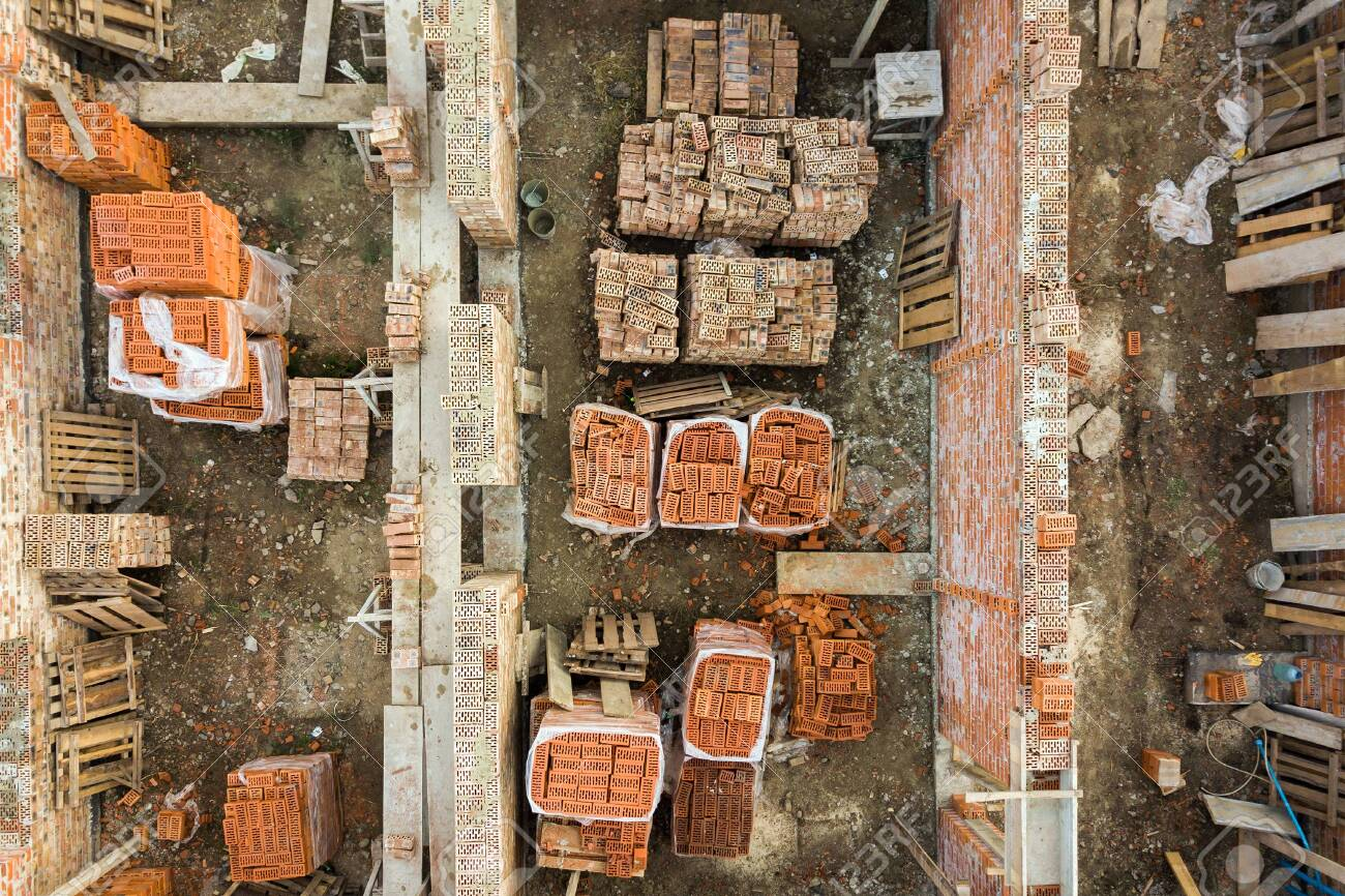Aerial View Of Building Site For Future Brick House Concrete Stock Photo Picture And Royalty Free Image Image 141759345