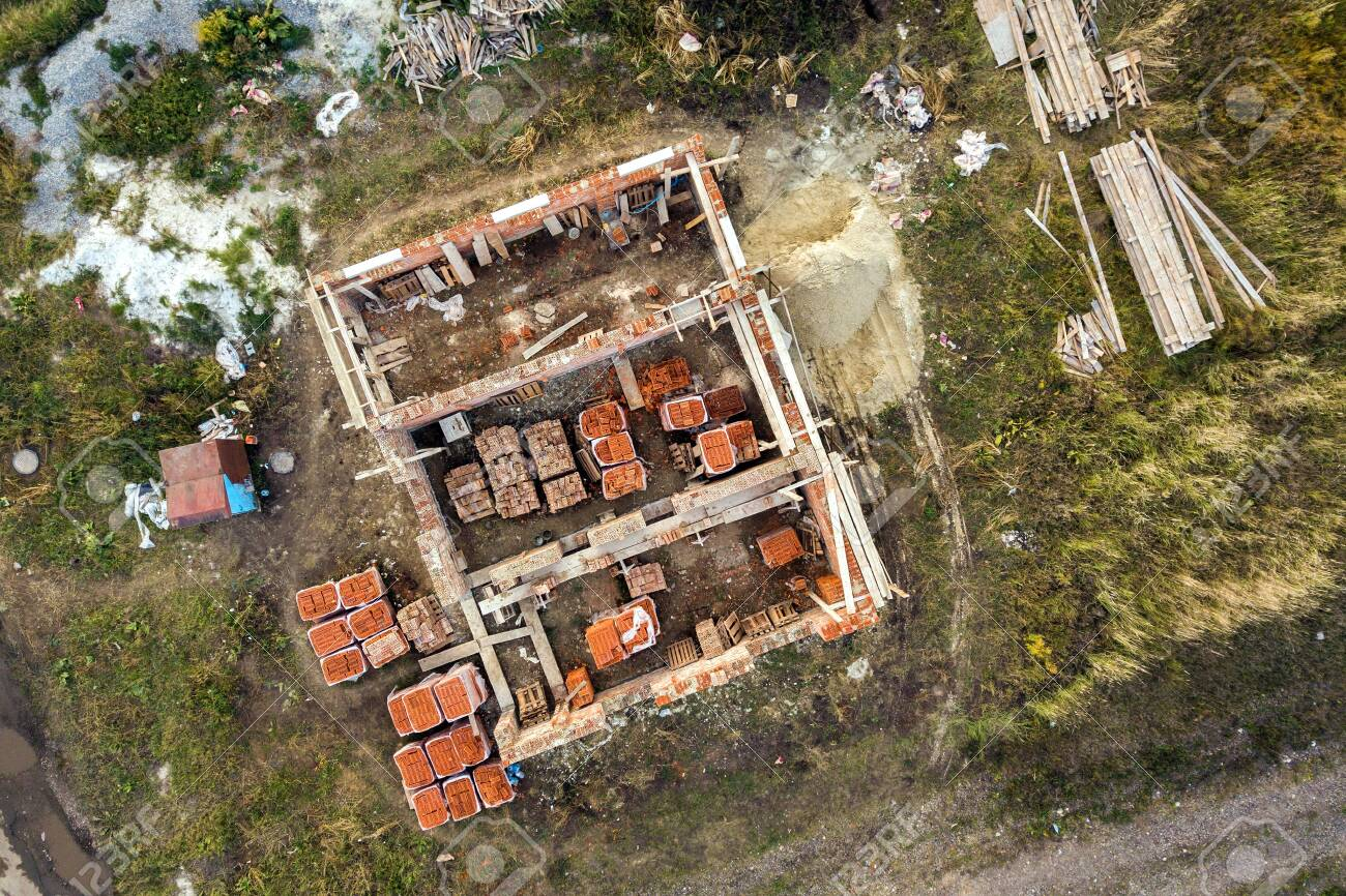 Aerial View Of Building Site For Future Brick House Concrete Stock Photo Picture And Royalty Free Image Image 144198235