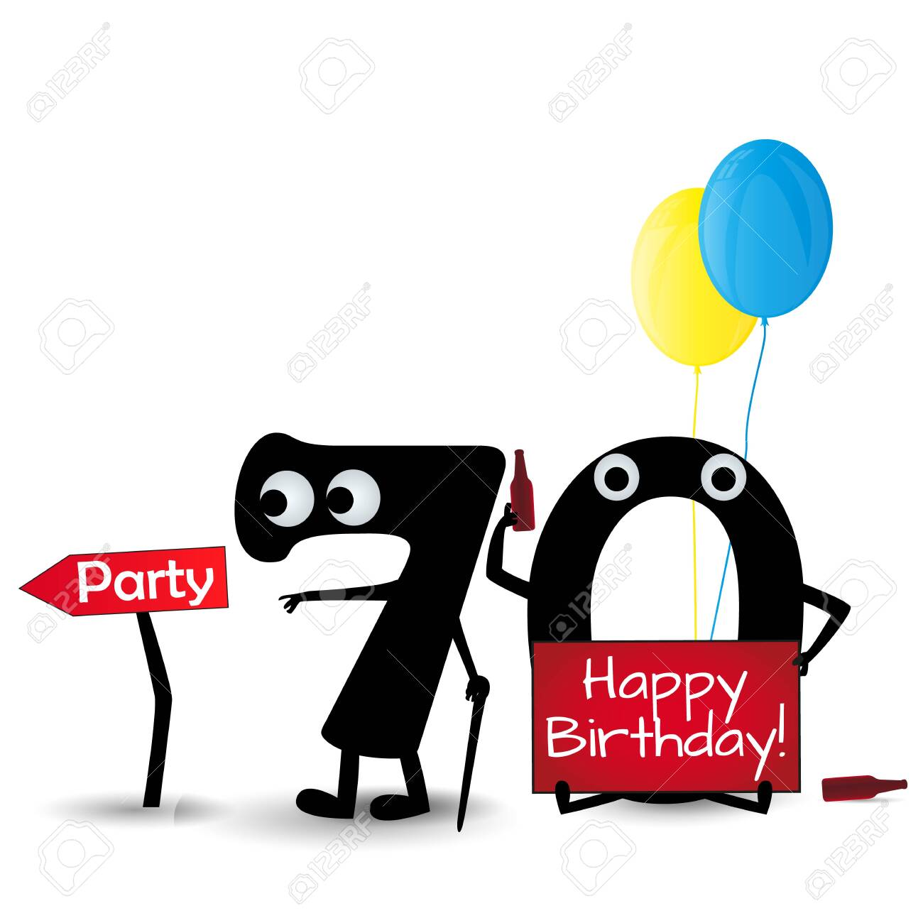 Happy Birthday Card 70 Party Invitation Template Isolated On Royalty Free Cliparts Vectors And Stock Illustration Image 128804943