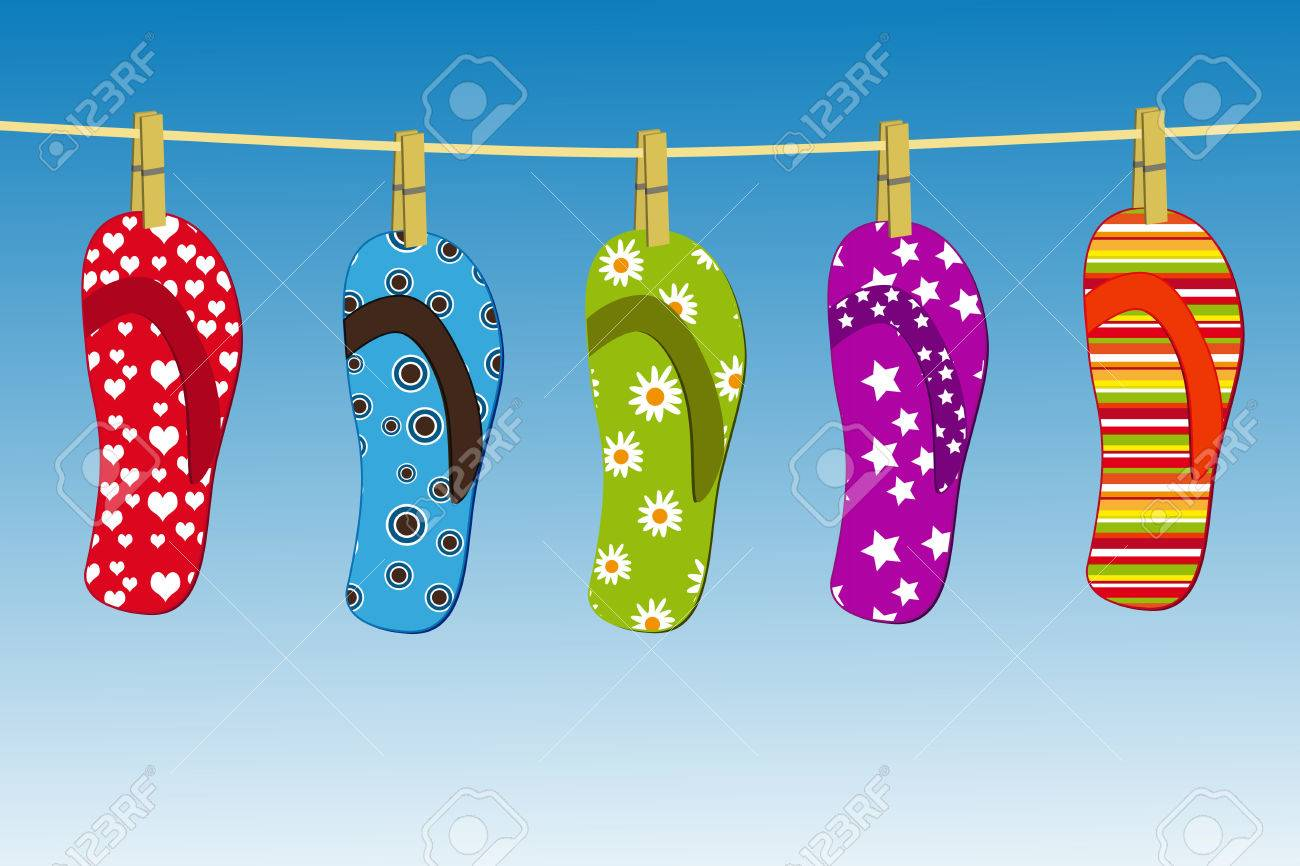flipflops hanging on a clothesline with the sky in the background Stock Vector - 8964476