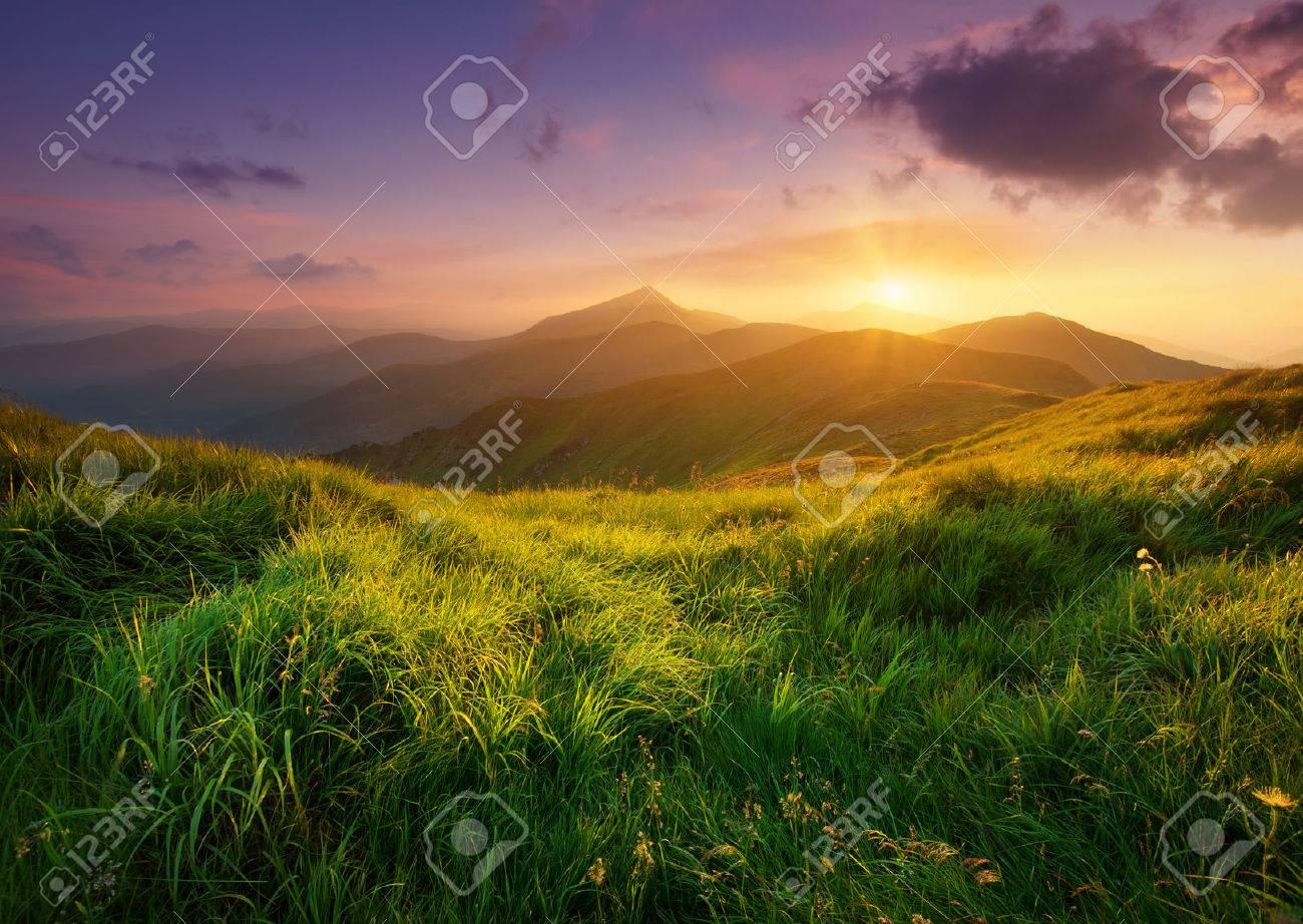 mountain landscape sunrise. mountain valley during sunrise natural summer landscape stock photo 43688447 s