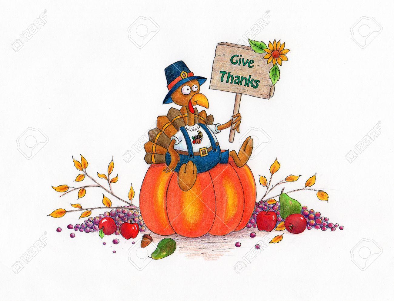 Dar Gracias Turquía Pavo De Thanksgiving Dibujos Animados Que Se