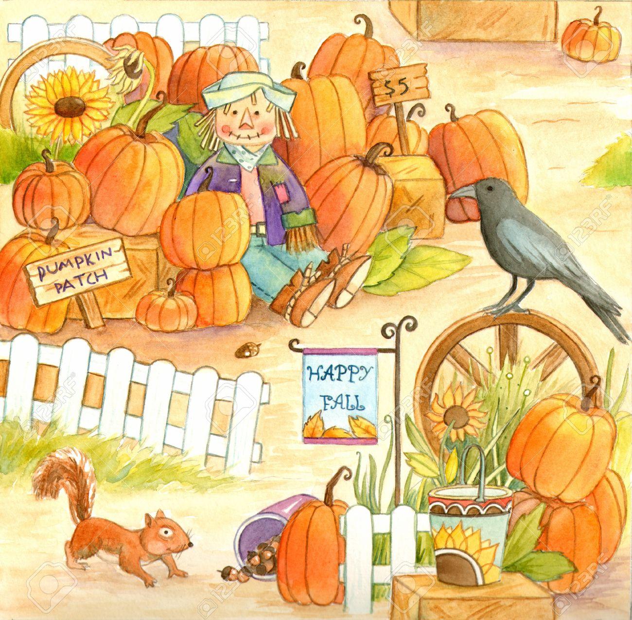 Pumpkin Patch - Watercolor illustration of a pumpkin patch Stock Photo - 17231417