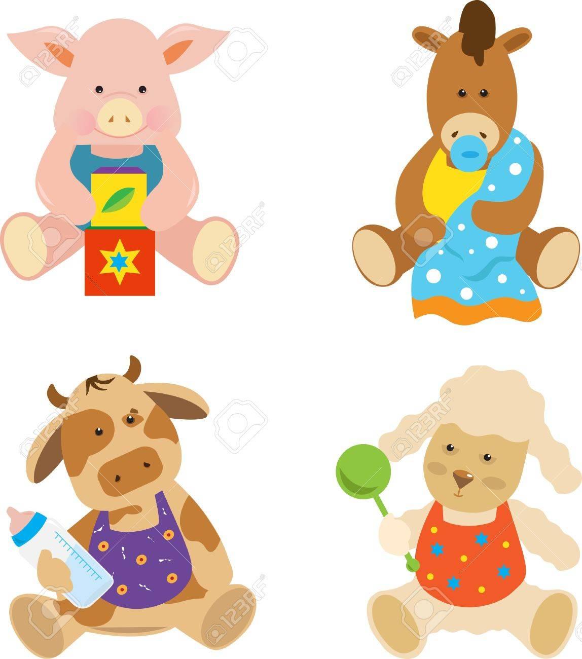 Bebés De La Granja Vector Conjunto De 4 Animales De Granja Linda Ilustraciones Vectoriales Clip Art Vectorizado Libre De Derechos Image 21401330