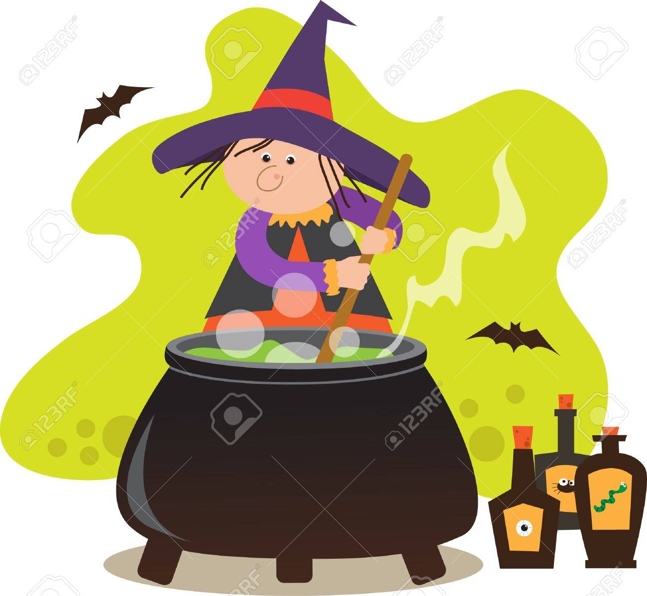 cute witch with pot cute witch mixing potion in a pot eps10
