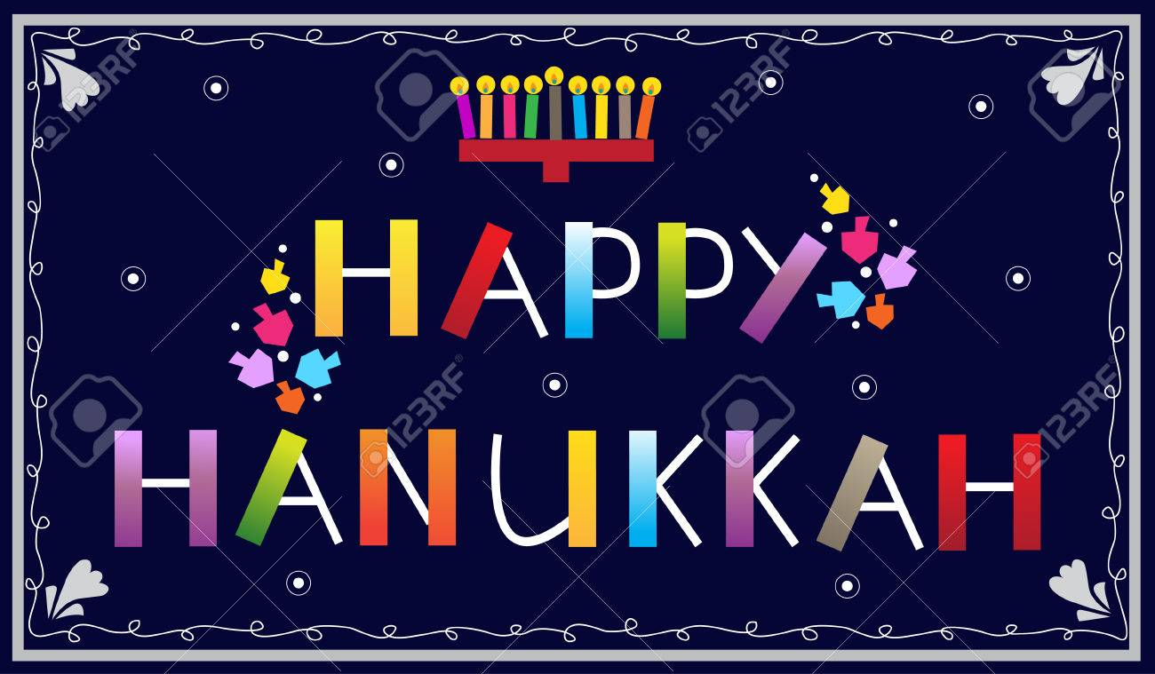 Happy Hanukkah - Happy Hanukkah Banner With Menorah And Dreidels ...
