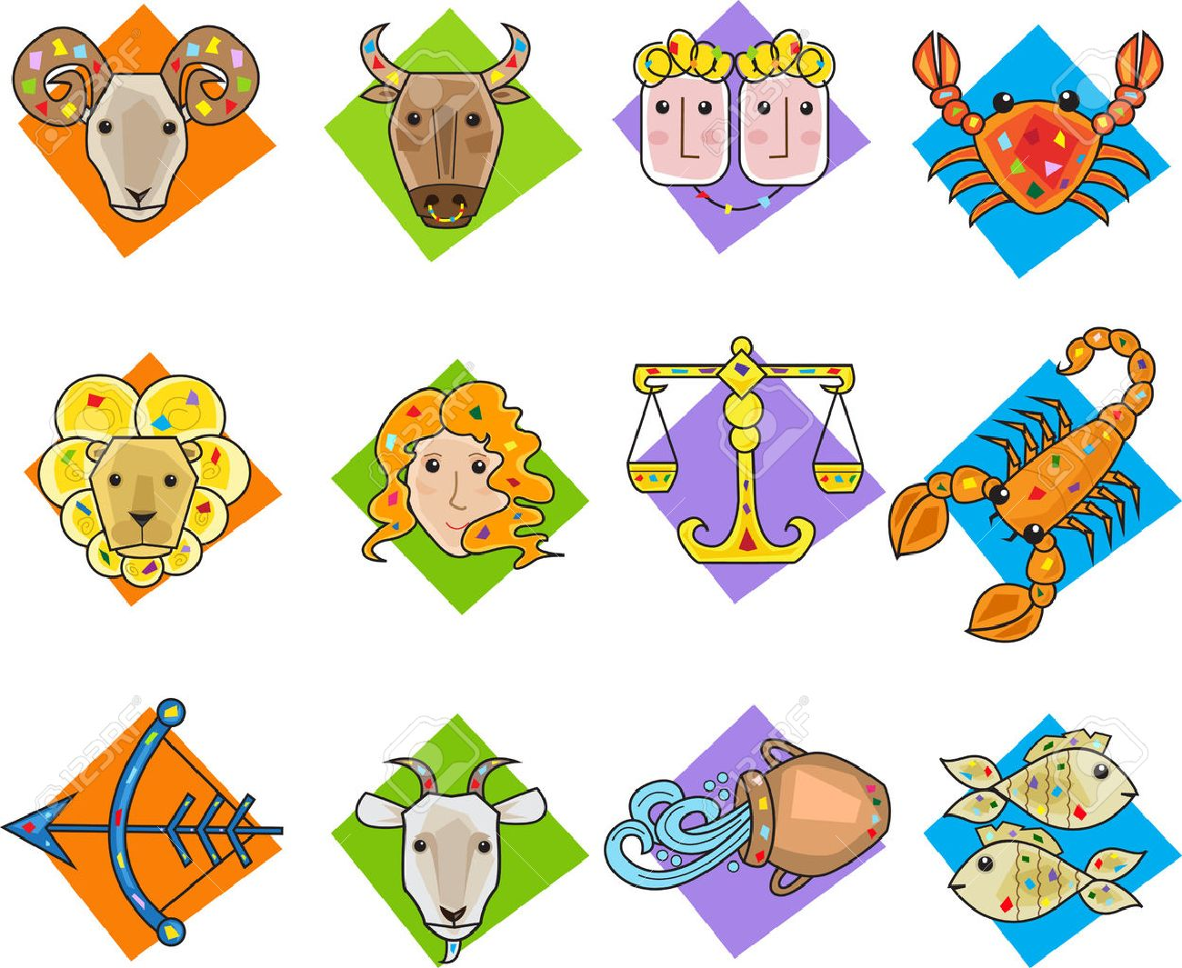 Zodiac Signs - Set of twelve