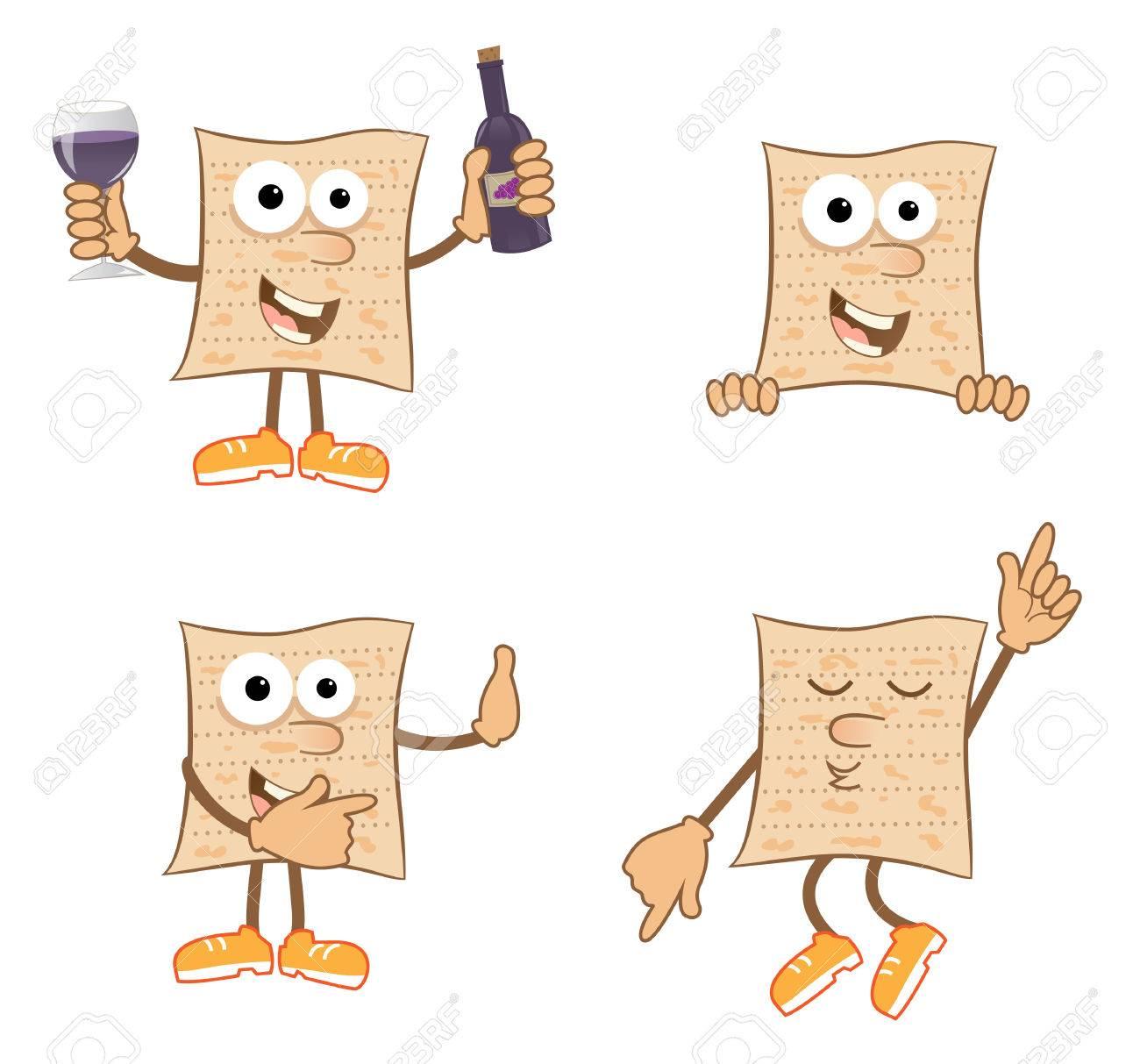 mr matzah cute set of 4 cartoon matzah royalty free cliparts