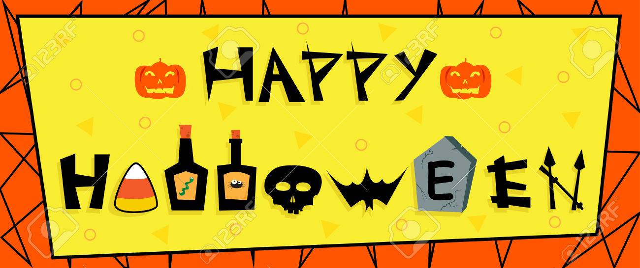 Happy Halloween Sign - Cute Halloween Banner With Happy Halloween ...