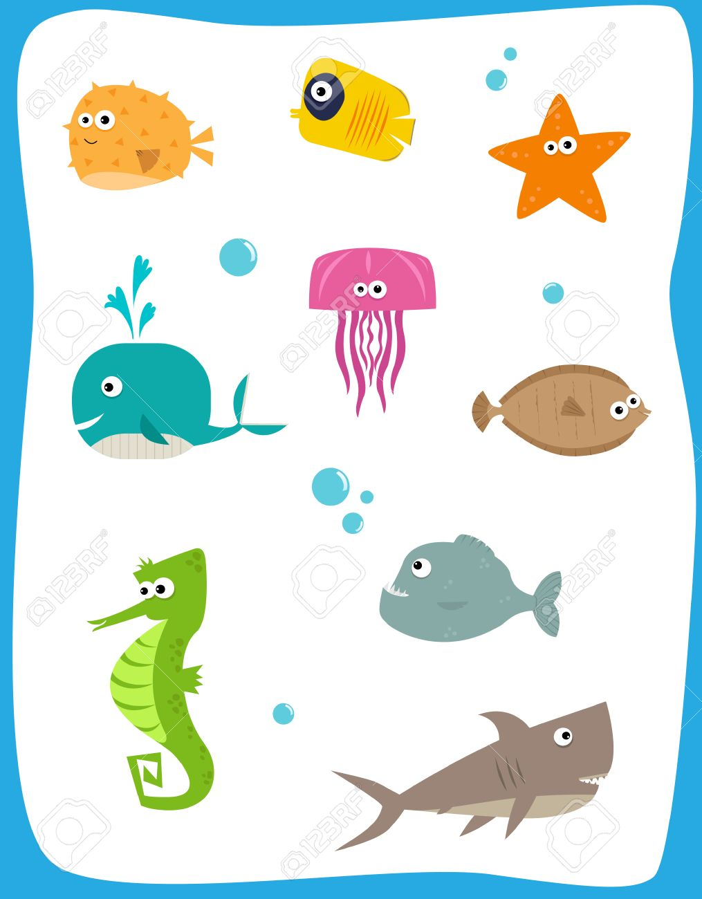 sea creatures cartoon set of nine cute baby sea creatures