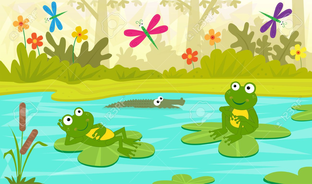 at the pond two cute frogs are sitting on water lilies and rh 123rf com Turtle Vector Leaping Frog Clip Art