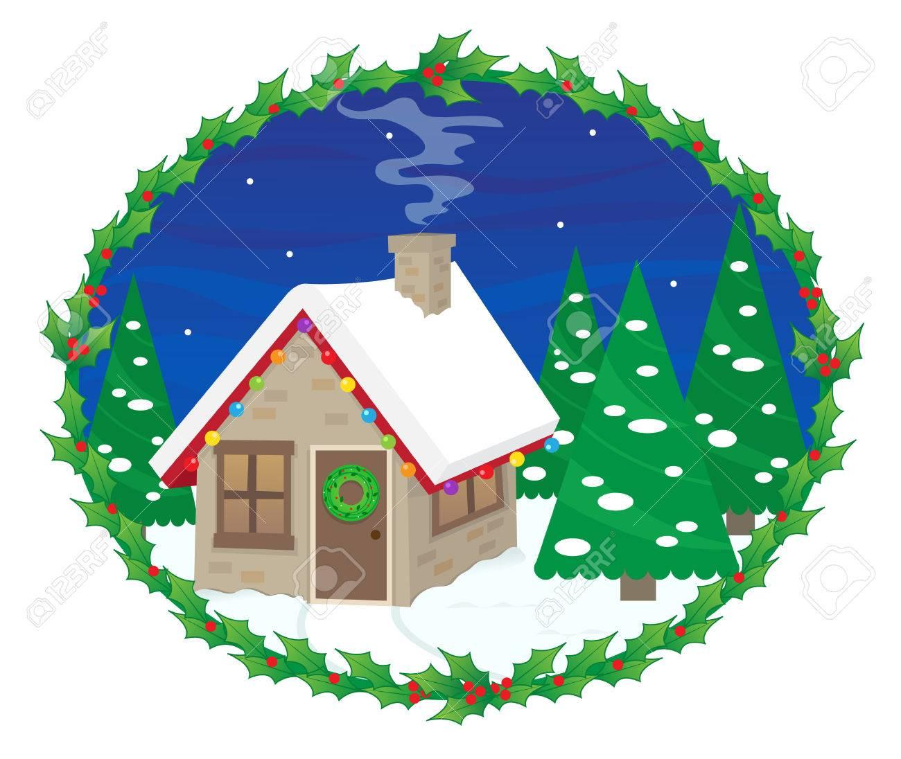 christmas lights on house clipart. festive house cute with christmas lights in a snowy night mistletoe frame on clipart