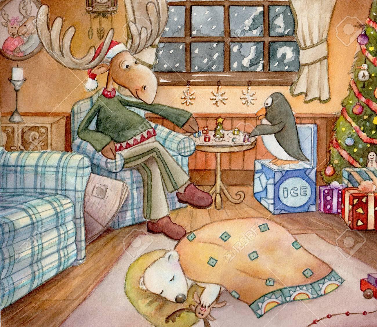 Gezellige Kerst Gedetailleerde Aquarel Kunst Van Een Eland