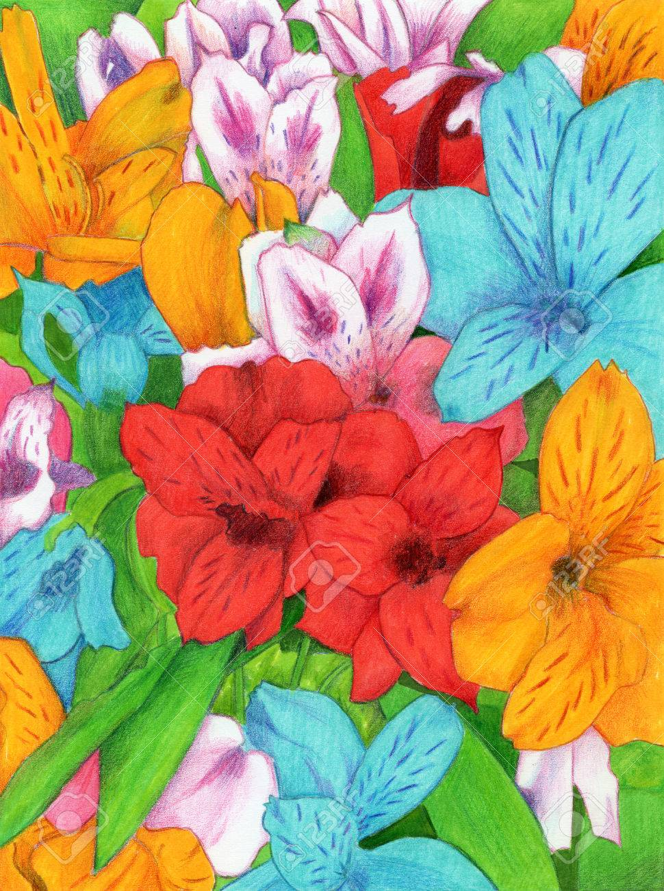 Colorful Flowers - A Page Full Of Colorful Flowers, Made With ...