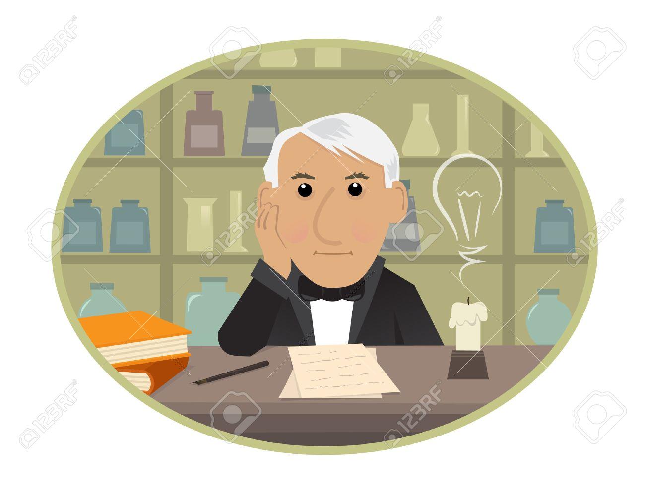 edison cartoon thomas edison is sitting behind his desk and rh 123rf com thomas alva edison clipart Thomas Edison Poster