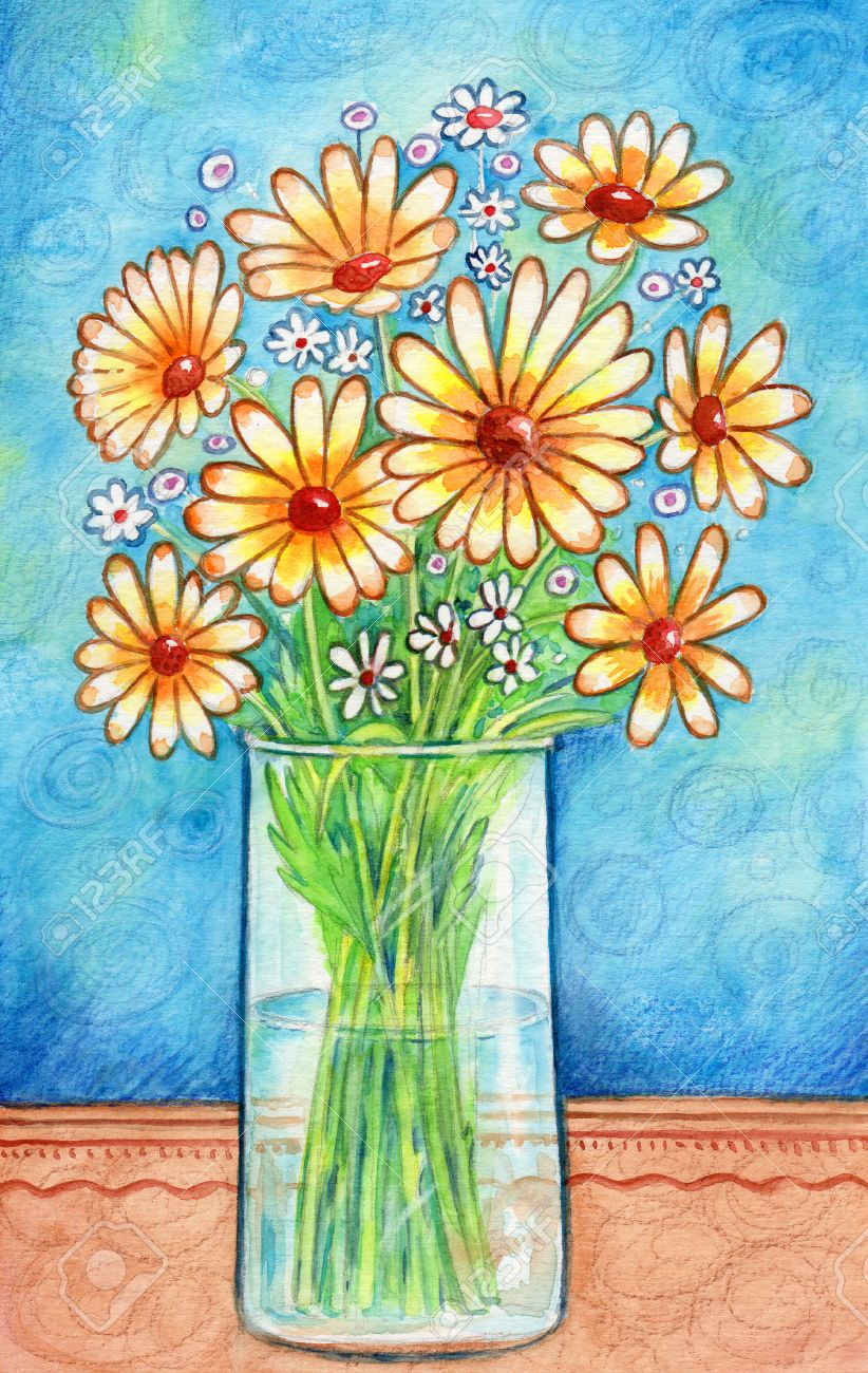 Vase with flowers watercolor painting of a glass vase with vase with flowers watercolor painting of a glass vase with yellow flowers and decorative reviewsmspy