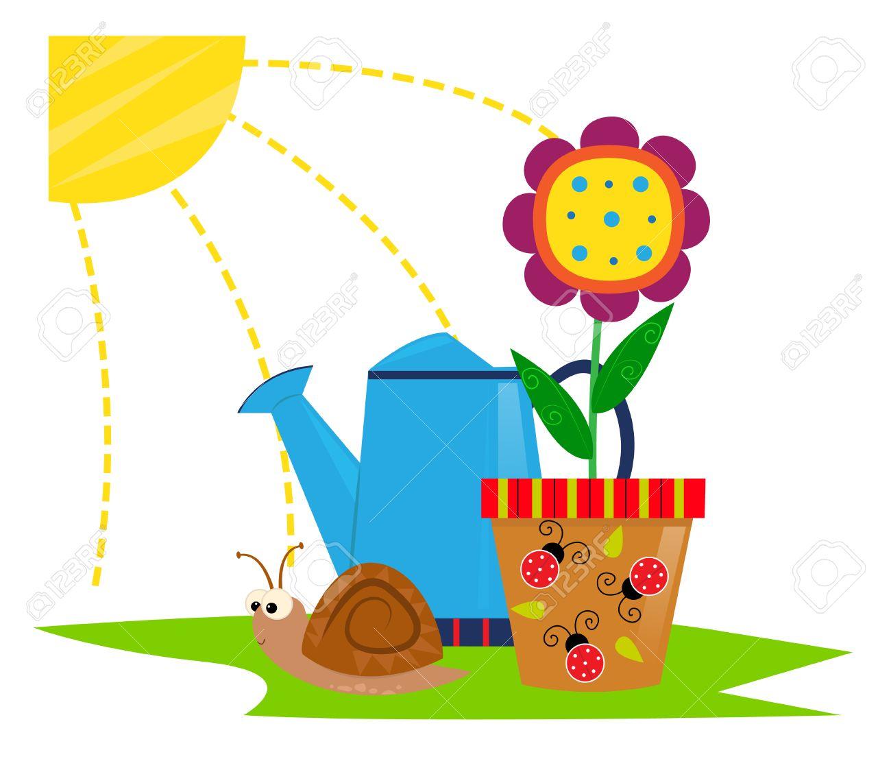 Frühling Icon Nette Karikatur Clip Art Einer Blume In Einem Topf
