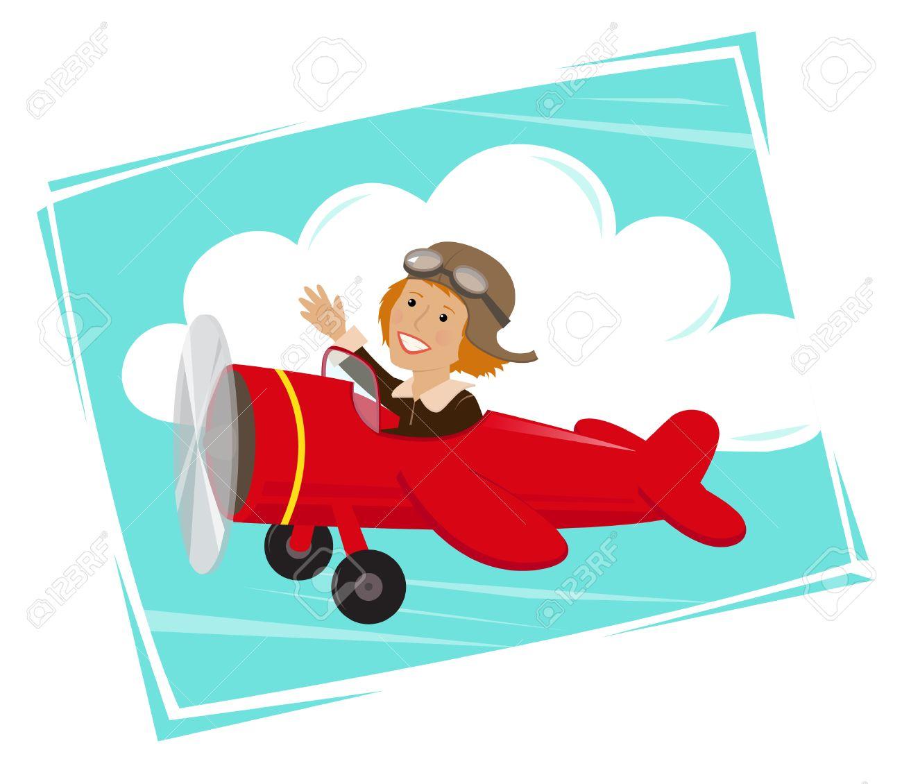 Amelia Flying Historieta Linda De Amelia Earhart Volaba En Su Avión ...