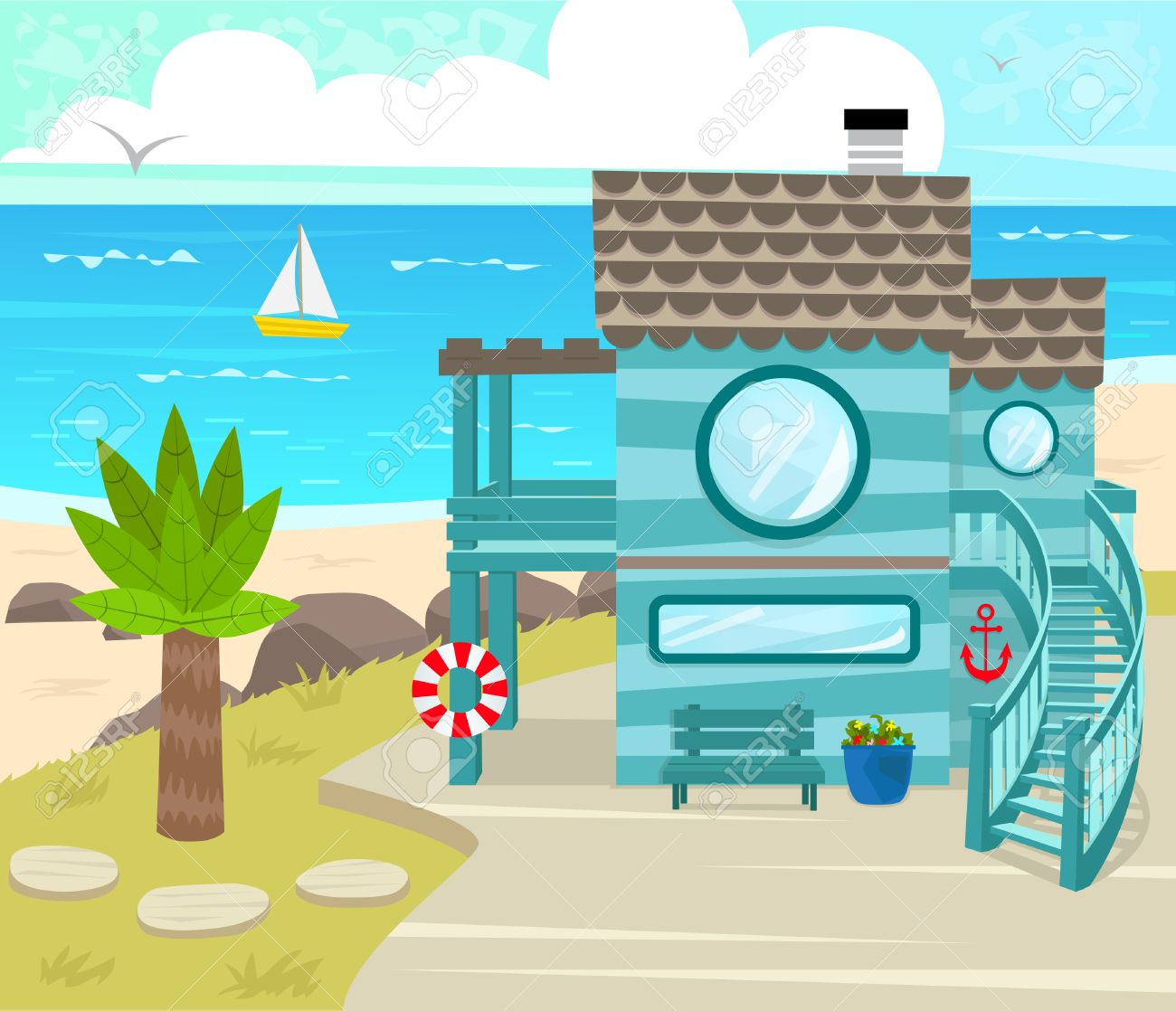 Beach House Cartoon Beach House In Front Of An Ocean View Eps10 Royalty Free Cliparts Vectors And Stock Illustration Image 41841219 Romantic cartoon style nature landscape. beach house cartoon beach house in front of an ocean view eps10