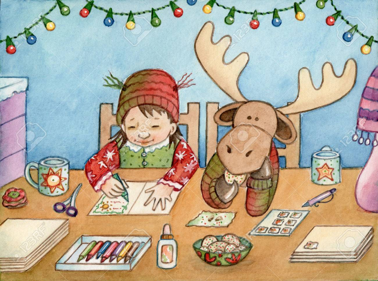 Card Making - Watercolor Illustration Of A Girl And Her Moose ...