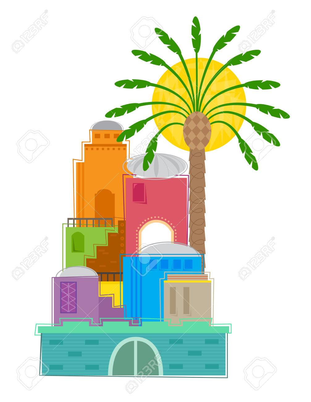 old city colorful and stylized clip art of an old middle eastern rh 123rf com seashore clipart black and white seashore images clipart