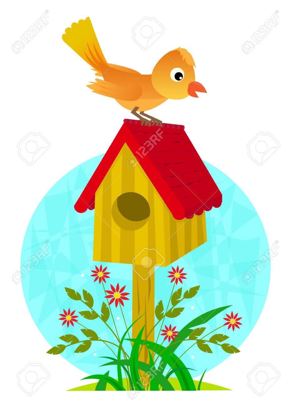 birdhouse and bird cute clip art of a bird standing on a rh 123rf com birdhouse clip art free birdhouse clip art borders
