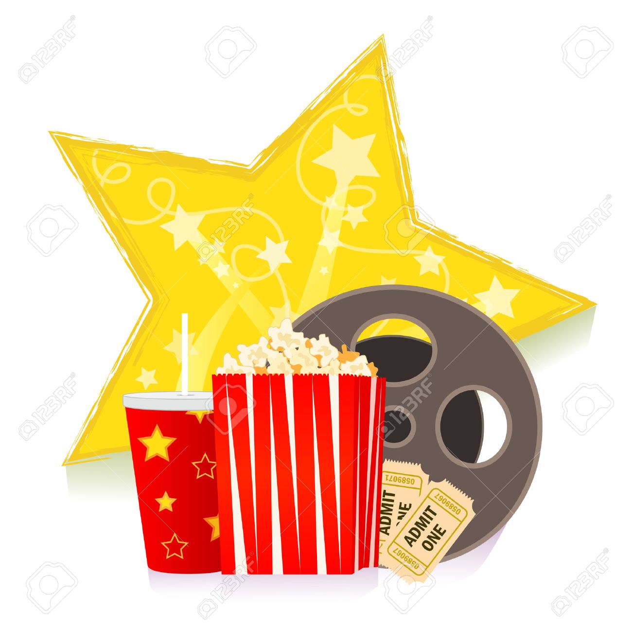 Movie Clip Art Cartoon Popcorn Soda Reel And Movie Tickets Royalty Free Cliparts Vectors And Stock Illustration Image 49170757
