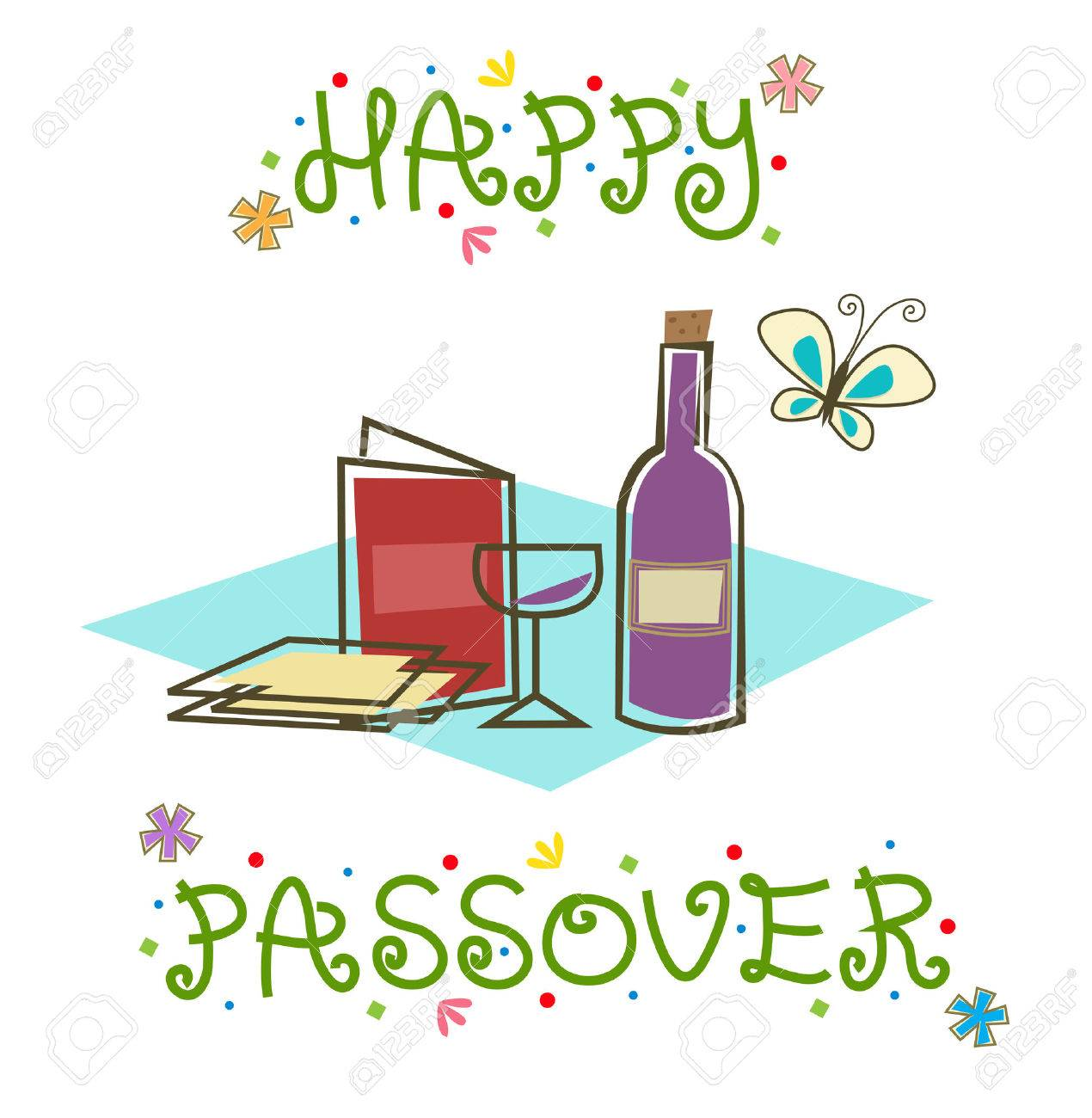 happy passover sign - stylized passover sign with passover seder