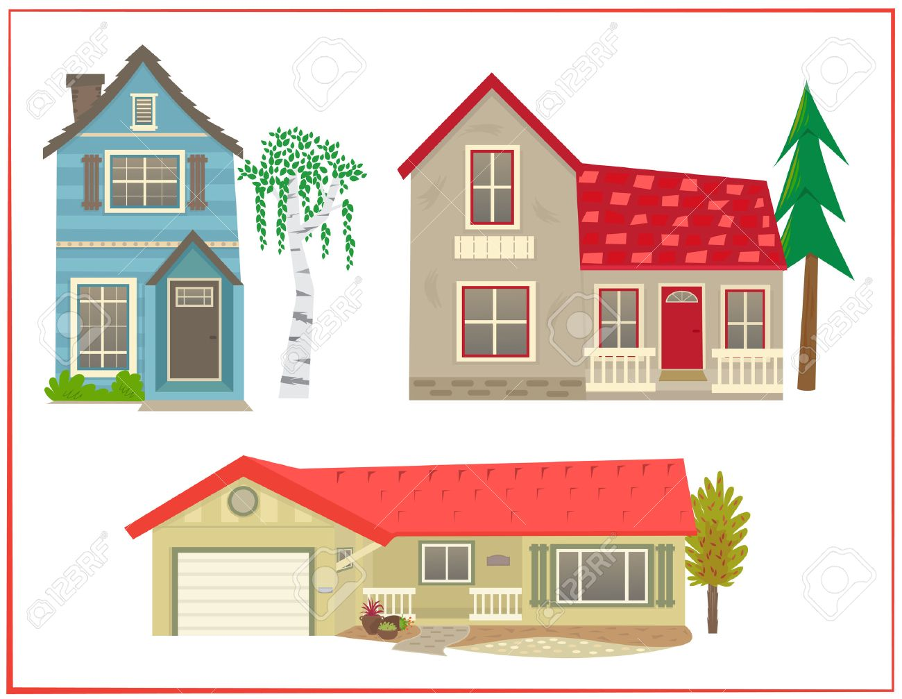cute houses cartoon set of three different types of homes stock vector 55148992 - Cute Houses Pictures